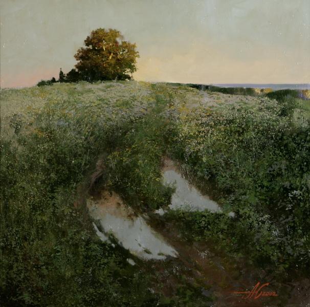 Пейзаж с лужей. 2002г. 70х70см. х.м.