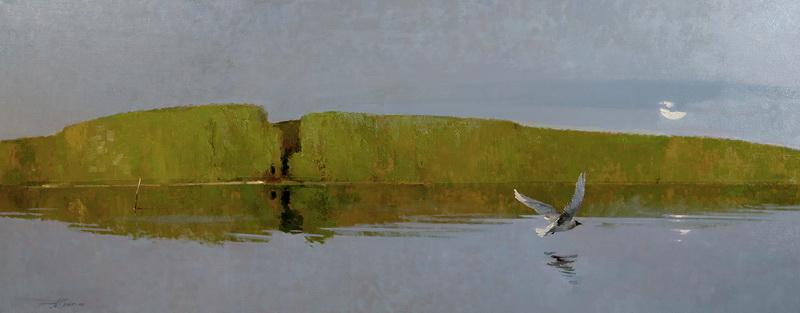 Тишина над озером.2005-06г. 95х230см. х.м.