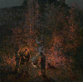 Ночь рыбаков. 2010г.40х40см. х.м.